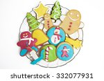 christmas cookies decorated... | Shutterstock . vector #332077931