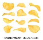 Set of potato chips close-up on an isolated white background