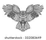 Eagle Owl. Birds. Black White...
