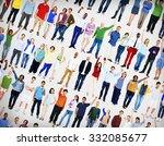 multiethnic casual people... | Shutterstock . vector #332085677