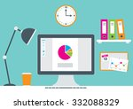 an office scene with a computer ... | Shutterstock .eps vector #332088329