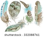set of watercolor feathers. a... | Shutterstock . vector #332088761