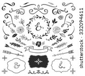 Vintage decorative elements with lettering. Hand drawn vector design wedding set.