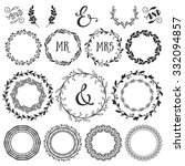 vintage decorative wreaths and... | Shutterstock .eps vector #332094857
