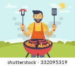 bbq party. flat illustration of ... | Shutterstock .eps vector #332095319