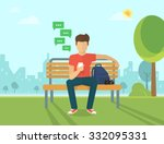 young man sitting in the street ... | Shutterstock .eps vector #332095331