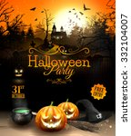halloween party flyer with... | Shutterstock .eps vector #332104007