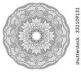 black vector mandala on white... | Shutterstock .eps vector #332109131