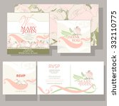 wedding invitation with pink... | Shutterstock .eps vector #332110775