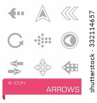 vector arrows icon set on grey... | Shutterstock .eps vector #332114657