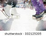 closeup skating shoes ice... | Shutterstock . vector #332125205