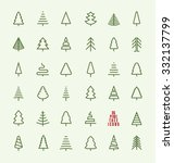 Thin Line Pine Tree Icon Set  ...