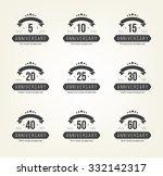 vector set of anniversary signs ... | Shutterstock .eps vector #332142317