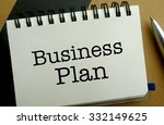 Business plan memo written on a notebook with pen - stock photo