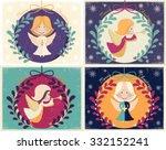 merry christmas vector card... | Shutterstock .eps vector #332152241