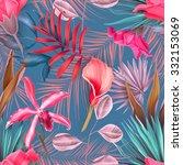 seamless tropical flower  plant ... | Shutterstock . vector #332153069