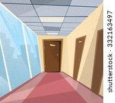 office room doors corridor...   Shutterstock .eps vector #332163497