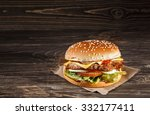 cheese burger with grilled meat ... | Shutterstock . vector #332177411