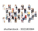team over white many colleagues  | Shutterstock . vector #332183384