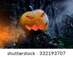 Glowing Pumpkin In The Forest....