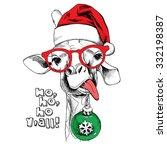 christmas card. giraffe... | Shutterstock .eps vector #332198387