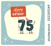 vintage style funny 75th... | Shutterstock .eps vector #332205269