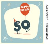 vintage style funny 50th... | Shutterstock .eps vector #332205599