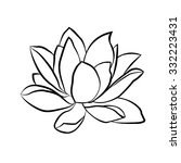 lotus flowers icon. the black... | Shutterstock .eps vector #332223431