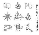 Pirate Icons Thin Line Art Set...