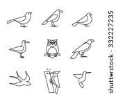Birds Icons Thin Line Art Set....