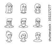 human faces icons thin line art ... | Shutterstock .eps vector #332227277
