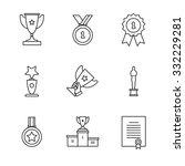 award winner icons thin line... | Shutterstock .eps vector #332229281