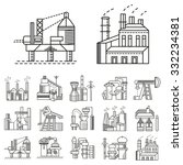flat icons for factories. oil... | Shutterstock . vector #332234381