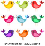 Cute Colorful Cartoon Birds...