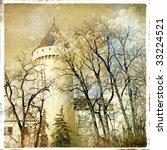 fairy winter castle - retro styled picture - stock photo