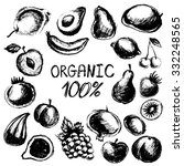 black graphic fruit set  vector ... | Shutterstock . vector #332248565