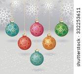 vector christmas balls with... | Shutterstock .eps vector #332253611