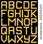 pixel gold glitter a z letters. ... | Shutterstock .eps vector #332255165