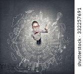 top view of cute schoolboy in... | Shutterstock . vector #332257691