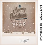 vintage christmas greeting card ... | Shutterstock .eps vector #332261705