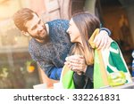young hipster couple in a cafe... | Shutterstock . vector #332261831