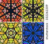 set of stained glass patterns....   Shutterstock .eps vector #332262209