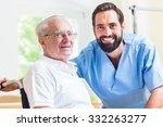 senior man and nurse in rest... | Shutterstock . vector #332263277