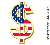 Dollar sign isolated on white. Computer generated 3D photo rendering. - stock photo