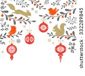 christmas floral background... | Shutterstock .eps vector #332289845