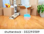 moving boxes in new apartment.... | Shutterstock . vector #332293589