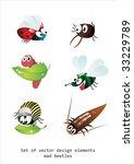 cute cartoon of many bugs | Shutterstock .eps vector #33229789