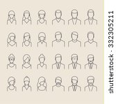 people icons thin line style.... | Shutterstock .eps vector #332305211