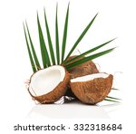 coconut with green leaves on... | Shutterstock . vector #332318684