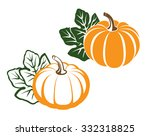 pumpkins with leaves.... | Shutterstock .eps vector #332318825